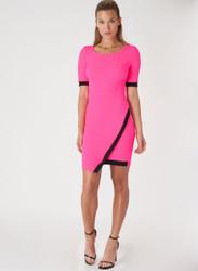 Short Sleeve Bodycon Dress. Neon Fuchsia with Black Colorblock.