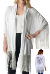 Boho-Chic Boutique Item! Kimono Style Open Cardigan with Fringe & Cow Skull Back!