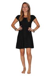 Black Crochet Lace Dress with Open Cutout Back!