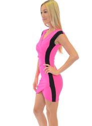 Beautiful Bodycon Dress! Neon Fuchsia/Black.