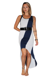 Belted, Long Dress With ColorBlock Stripe! Blue/White.