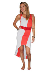 Belted, Long Dress With ColorBlock Stripe! Orange/White.