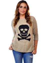 LOVE CRAZY! Mocha Brown Sweater with Skull!