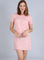 Pink Dress in Geometric Print.
