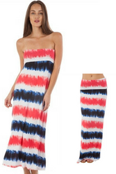 95% Rayon Maxi Dress or Skirt! Red, White, Blue.