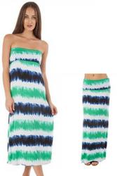 95% Rayon Maxi Dress or Skirt! Green, White, Blue.