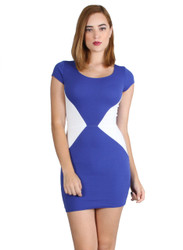 Blue/White ColorBlock Bodycon Dress.
