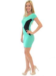 Mint/Black ColorBlock Bodycon Dress.