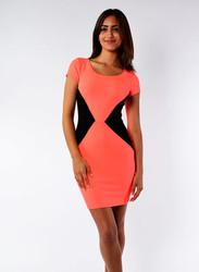 Orange/Black ColorBlock Bodycon Dress.