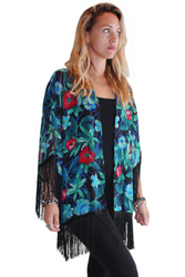 ONE SIZE BOHO COVERUP CARDIGAN WITH TASSELS!  NAVY BLUE FLORAL PRINT! ONE SIZE (Up to Size 18).