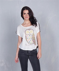 Owl Top with Leopard Print Back is 95% Rayon!