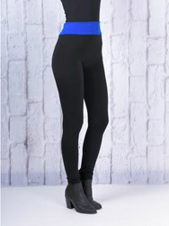 Butt-Lifting, Body-Shaping Leggings. Black with Blue Yoga Waistband. One Size.