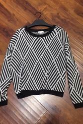 Classic Pullover Sweater in Black & White Herringbone Pattern!