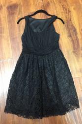 100% Cotton Solid Black Crochet Skater Dress!