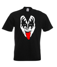 Mens Black Gene Simmons Kiss Rock Music T Shirt