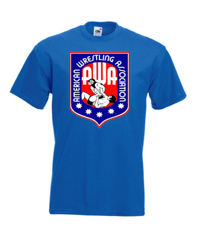Mens royal blue AWA American Wrestling Association Wrestling T Shirt