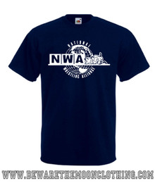 Mens navy NWA National Wrestling Alliance Wrestling Logo T Shirt