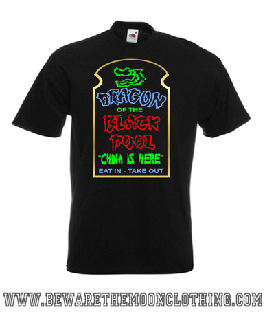Mens black Big Trouble In Little China Dragon Of The Black Pool 80s Movie T Shirt