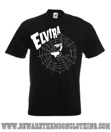 Mens Elvira Gothic Web design on a black Super Premium Fruit Of The Loom T Shirt