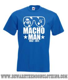 Mens royal blue Macho Man Randy Savage Tribute Wrestling T Shirt with brilliant white print