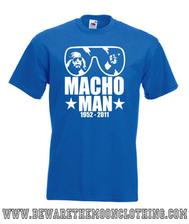 Mens royal blue Macho Man Randy Savage Tribute Wrestling T Shirt with brilliant white print