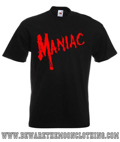 Mens black Maniac Horror Movie T Shirt
