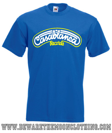 Casablanca Records mens royal blue retro music T Shirt