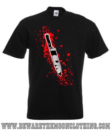 Halloween Michael Myers Knife Retro Horror Movie mens black T Shirt