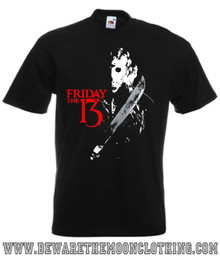 Friday The 13th Retro Horror Movie T Shirt Mens Black