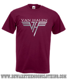 Van Halen Retro Music T Shirt Mens Burgundy