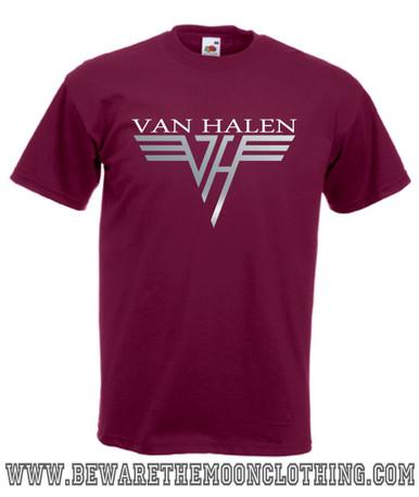 Van Halen Retro Music T Shirt Mens Burgundy