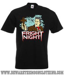 Peter Vincent Fright Night Retro Horror Movie T Shirt Mens Black