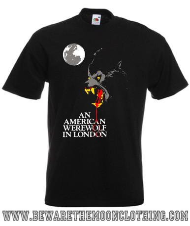 An American Werewolf In London Retro Horror Movie T Shirt mens black