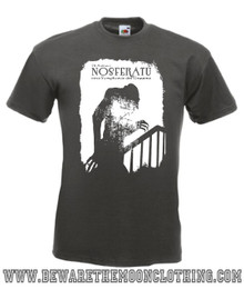 Nosferatu Vampire Retro Horror Movie T Shirt mens graphite