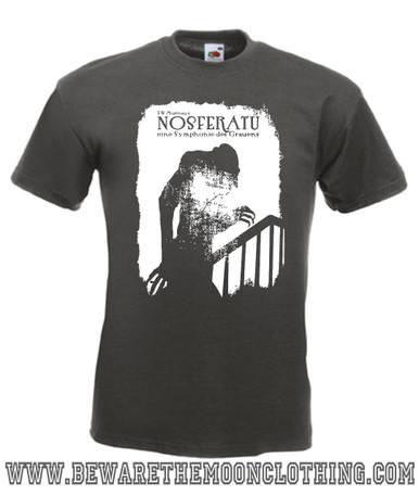 Nosferatu Vampire Retro Horror Movie T Shirt mens graphite