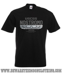 Nostromo Alien Retro Movie T Shirt mens black