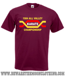 Karate Kid All Valley Karate Championship Retro Movie T Shirt mens burgundy