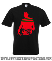 Never Sleep Again Nightmare On Elm Street Freddy Krueger Retro 80s Horror Movie T Shirt / Hoodie