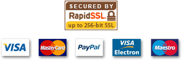 Secured by RapidSSL, payment types accepted - Visa, Mastercard, PayPal, Visa electron and Maestro