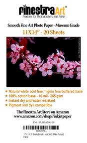 11X14 Smooth Art Museum Grade Inkjet Paper 20 sheets