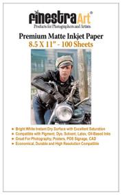 "8.5 x 11"" 100 Sheets Premium Matte Inkjet Photo Paper 230gsm"