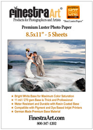 8.5x11 Premium Luster Photo Paper 5 Sheets