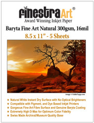 8.5x11 Baryta Natural Fine Art Inkjet Paper - 5 Sheets