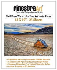 13x19 Watercolor Fine Art Inkjet Paper - 25 Sheets