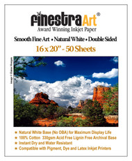 16x20 Smooth Art Natural White Inkjet Paper Double Sided 330gsm - 50 sheets