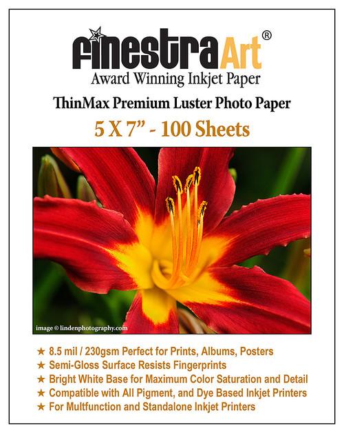 5x7 Premium Luster Inkjet Photo Paper - 100 Sheets 8.5mil