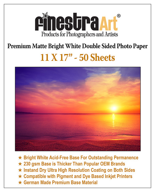 "11x17"" 50 Sheets Premium Matte Bright White Inkjet DS Photo Paper 230gsm"