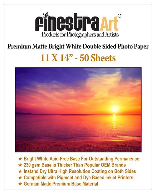 "11x14"" 50 Sheets Premium Matte Bright White Inkjet DS Photo Paper 230gsm"