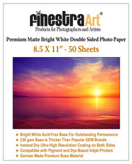 "8.5x11"" 50 Sheets Premium Matte Bright White Inkjet DS Photo Paper 230gsm"