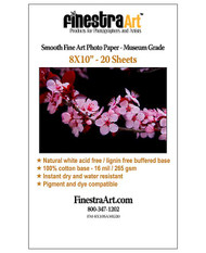 8x10 Smooth Fine Art Museum Grade Inkjet Paper 20 sheets